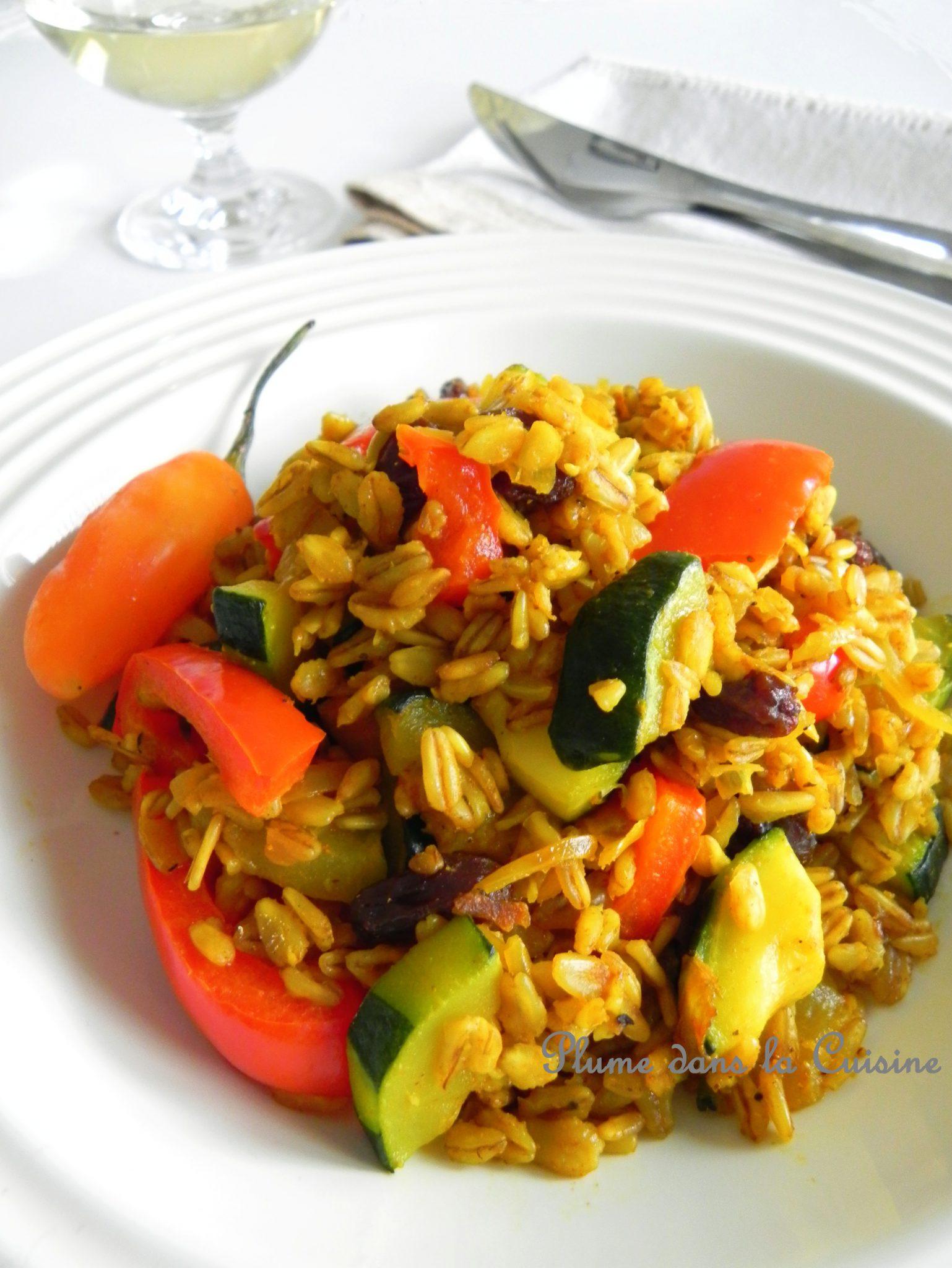 Blé (Ebly) aux légumes, épicé au colombo antillais