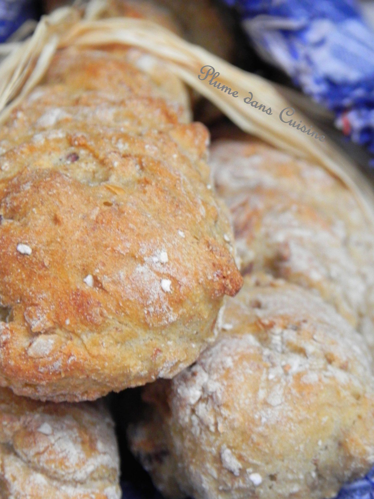 Baguettes rustiques aux noix, sans pétrissage