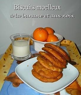 Biscuits moelleux à la banane et aux noix
