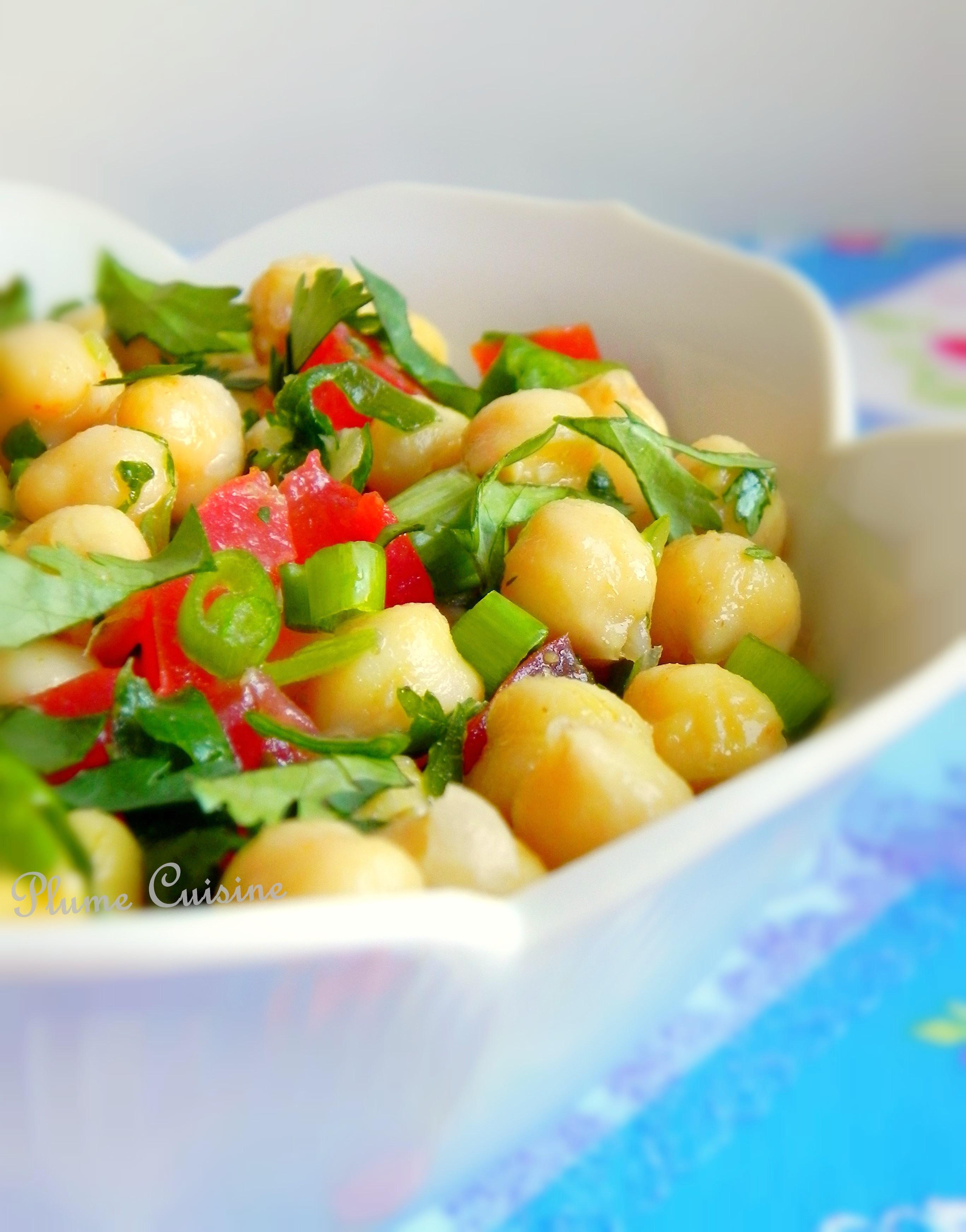 Salade indienne de pois chiches à la coriandre et au cumin