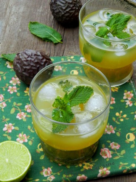 Cocktail passion, citron et menthe (sans alcool)